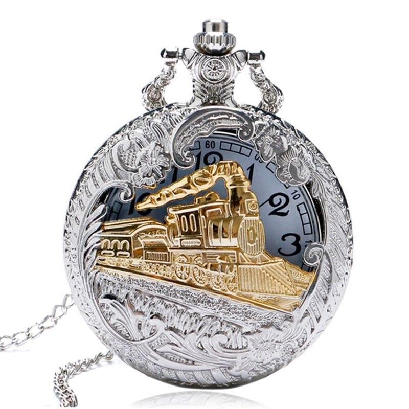 Vintage Silver Case Gold Train Locomotive Hollow Quartz Pocket Watch Necklace Pendant Ms. Men's Gift