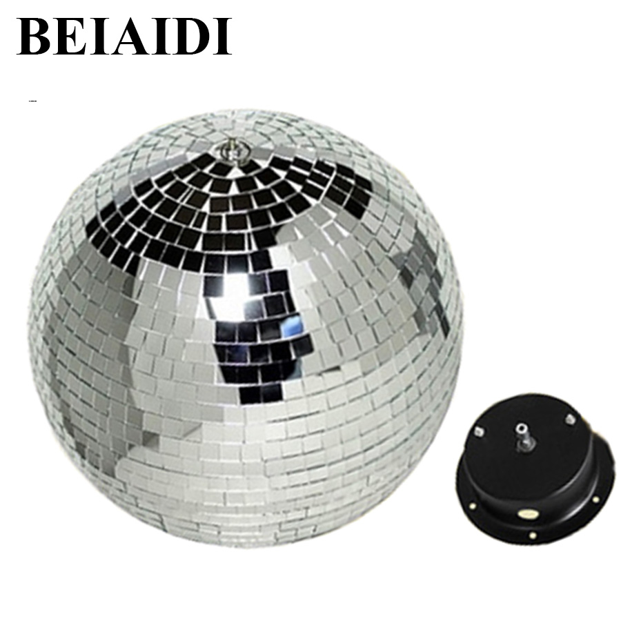 BEIAIDI D15CM 20CM 25CM 30cm Reflective Glass Rotating Mirror Ball With AC Motor For Disco DJ Mirror Reflection Glass Ball Light colorfull light mirror reflection glass ball stage festival hanging ball motor 10inch 19cm