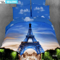 100% cotton romantic Paris bed linens queen king size Eiffel Tower printed duver cover pillowcases high quality bedding set girl
