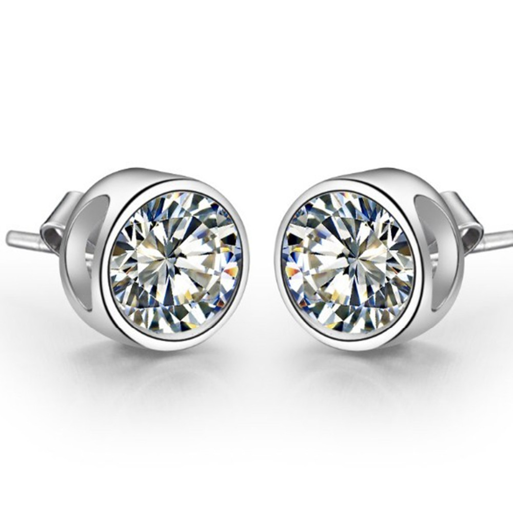 Piece Genuine Sona Synthetic Diamonds Stud Earrings For Women  925 Sterling Silver White