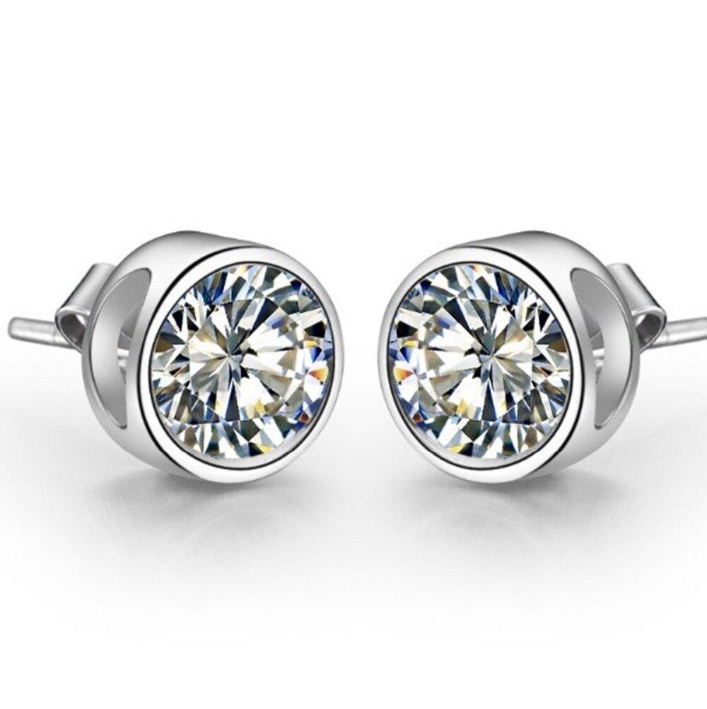 Piece Genuine Sona Synthetic Diamonds Stud Earrings For Women  925 Sterling Silver White