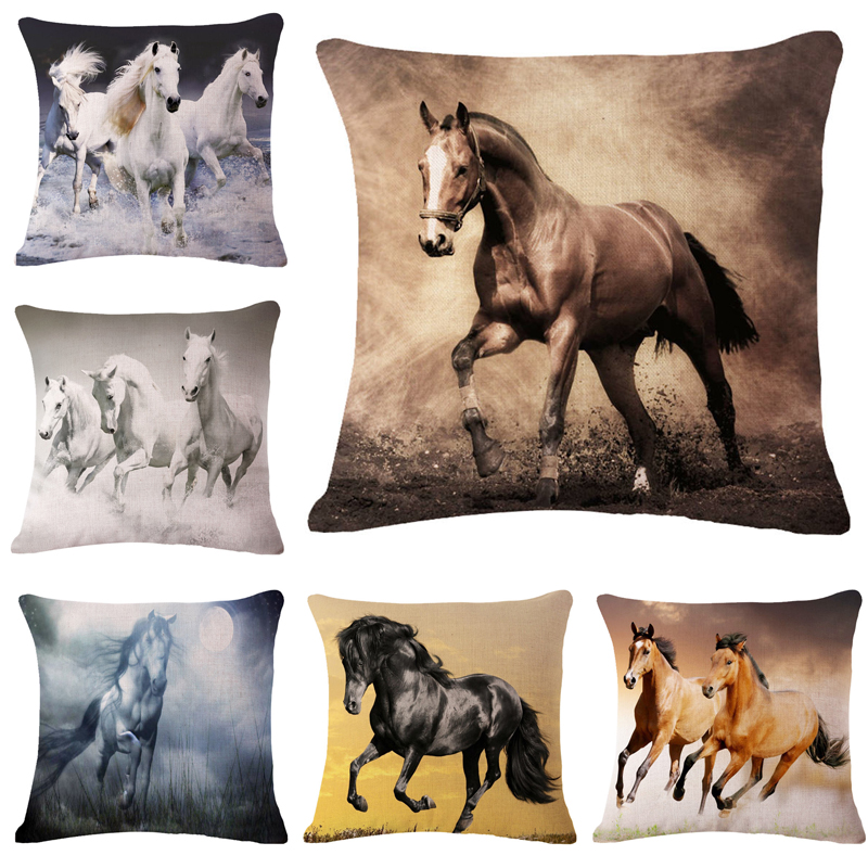 LYN&GY New 3D Horse Animals Pattern 45*45 cm Decorative Pillowcase Pillows Case Cover for Couch Chinese style