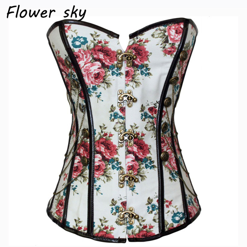 Women's Gothic Punk Boned Overbust Bustier Corset Top Floral Corselet with Buckles and Chains