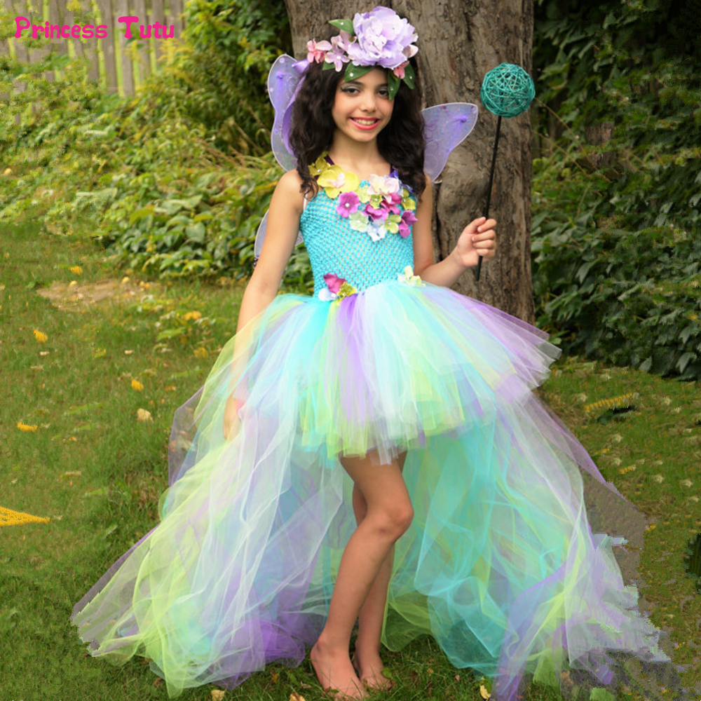 Children Girls Fairy Princess Tutu Dress With Wings Water Fairy Dress Up Costumes For Girls Kids Pageant Wedding Party Dresses цена 2017