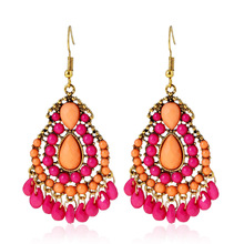Exaggerate Vintage Ethnic Style Earrings For Women Boho Acrylic Water Drop Tassel Long Earring Brincos Indian Jewelry Wholesale