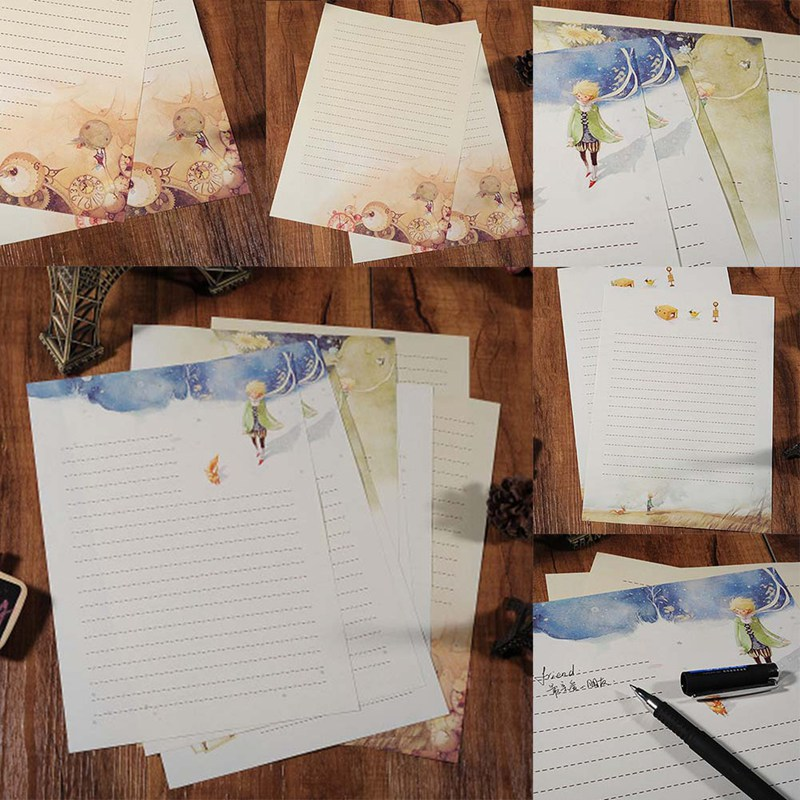 A Set Of Eight Cartoon Fairy Tales The Little Prince Story & Retro Four Season Plants Flowers Painting Letter Paper Stationery