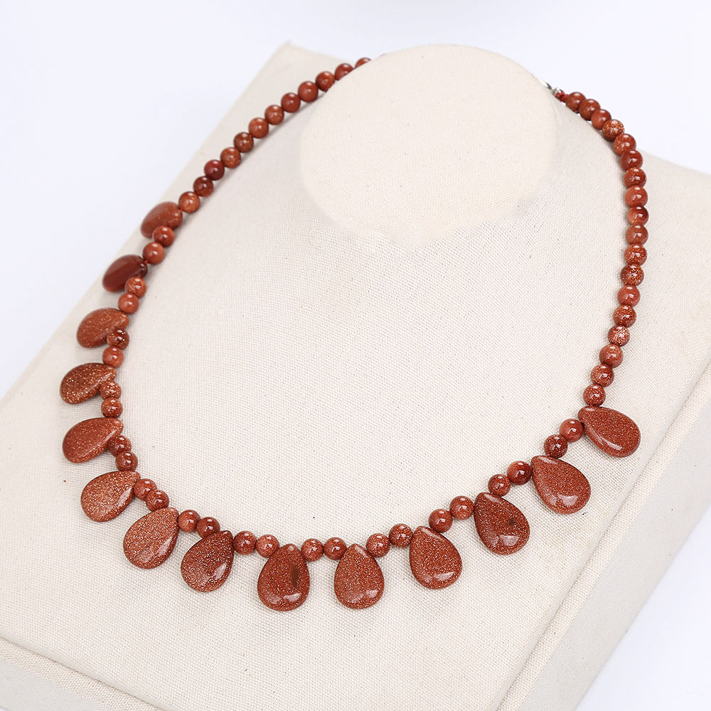 AAA Red Goldstone <font><b>Necklace</b></font> Stone Water Drop Energy Beads Lady Healing Crystal Women Fine Jewelry Gemstone <font><b>Labradorite</b></font> <font><b>Necklace</b></font> image
