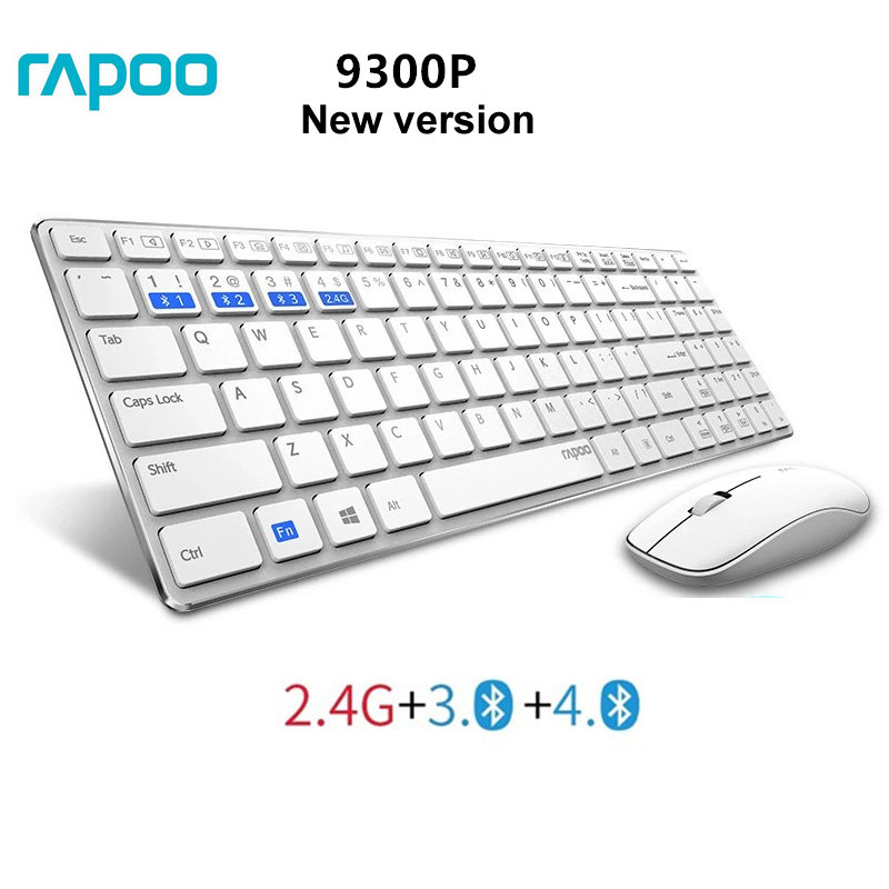 Rapoo Multimedia Ultra Thin Optical Wireless Keyboard and Mouse Combos with English Russian key Protector for