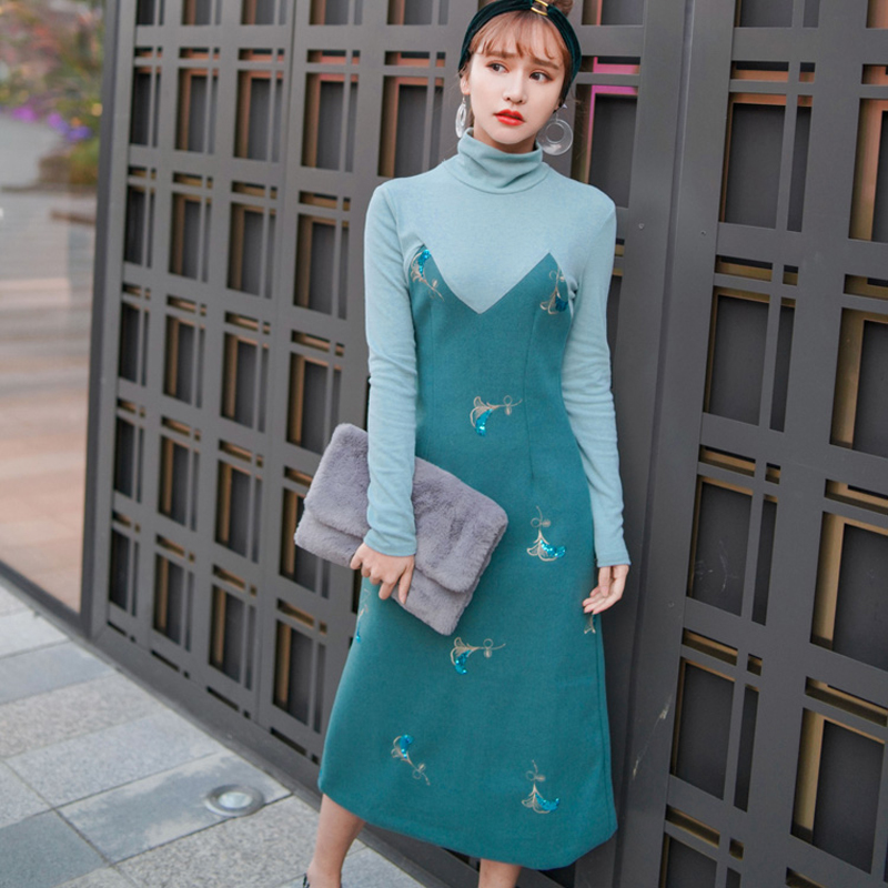 Turtleneck Patchwork Emboridery Sequined Knitted Dresses Women Elegant Hit Color High Waist Long Dresses Pullover vestidos