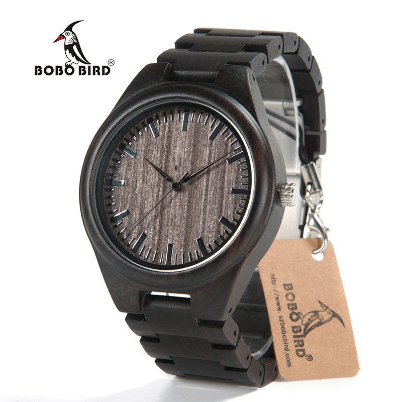 BOBO BIRD 2017 Luxury Brand Men Watches All Black Wooden Wristwatches with Wooden Band Wood Watches for Men relogio masculino aa wooden watches w1 orange aa wooden watches