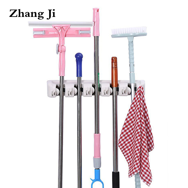 Bathroom Fixtures Vidricshelves Wall Mount Plastic 5 Hang 6 Hooks Mop Shelf Balcony Broom Rack Washroom Multi-functional Storage Holder Wf-2562