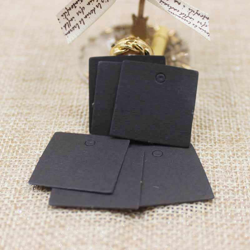 2.5*2.5 เซนติเมตรมือขนาดเล็กของขวัญกระดาษคราฟท์/สีดำ/สีขาวเครื่องประดับ Blank Hang Tag 50 ชิ้น + 50 ชิ้น Strings ยอมรับโลโก้ที่กำหนดเอง