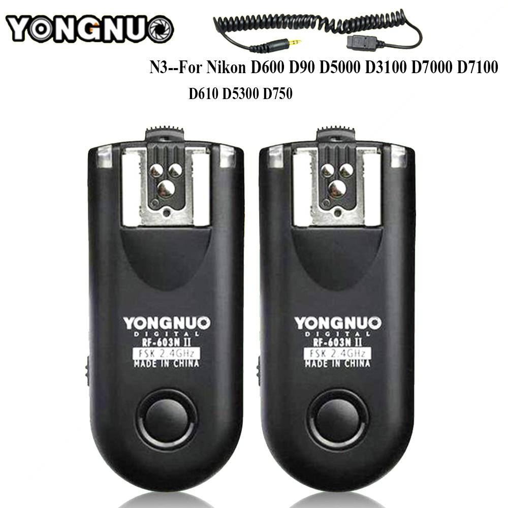 YONGNUO RF-603 II N3 Radio Wireless Remote Flash Trigger for Nikon D90 D5000 D5100 D7000 D3100 D600 D610 D7200 D5300 D5200 inseesi pixel king x receiver rx 2 4g ttl wireless flash trigger high speed 1 8000s for nikon camera d7000 d3100 d5200 d600 d90