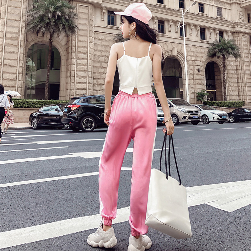 Women's Clothing New Summer Strapless Sleeveless spaghetti strap Vest crop tops+Side Stripe Harem Pants Streetwear Women's Sets 5