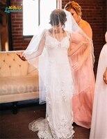 Charming Glamorous Romantic Flowers Train Crystals Beads Jacket V Neck Beach Wedding Dress Free Shipping Vestido