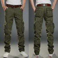 Homens Carga Calças Dos Homens Estilo Militar Calças de Trabalho Multi Side bolsos Calças Largas Basculador Casuais Exército Verde Khaki Preto Pant