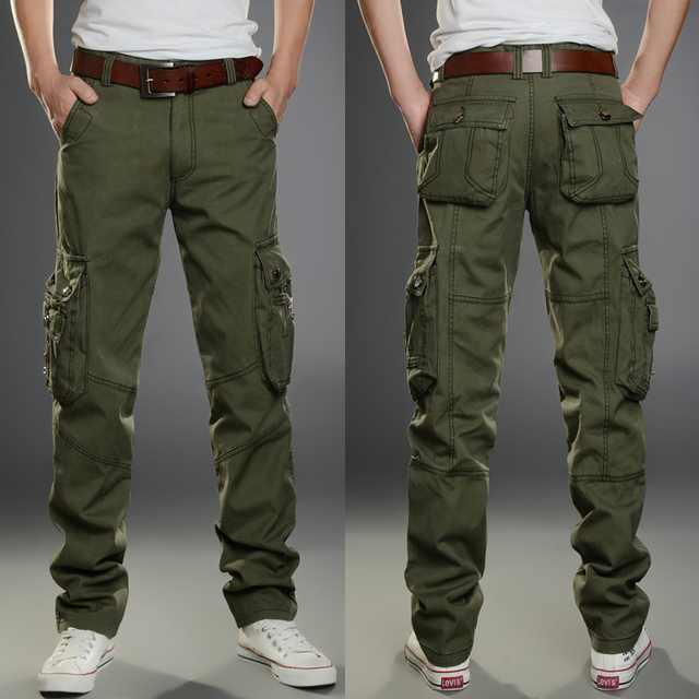 ca236c5247c Men Cargo Pants Men Military Style Work Trousers Multi Side Pockets Pants  Baggy Casual Jogger Us Army Green Black Khaki Pant