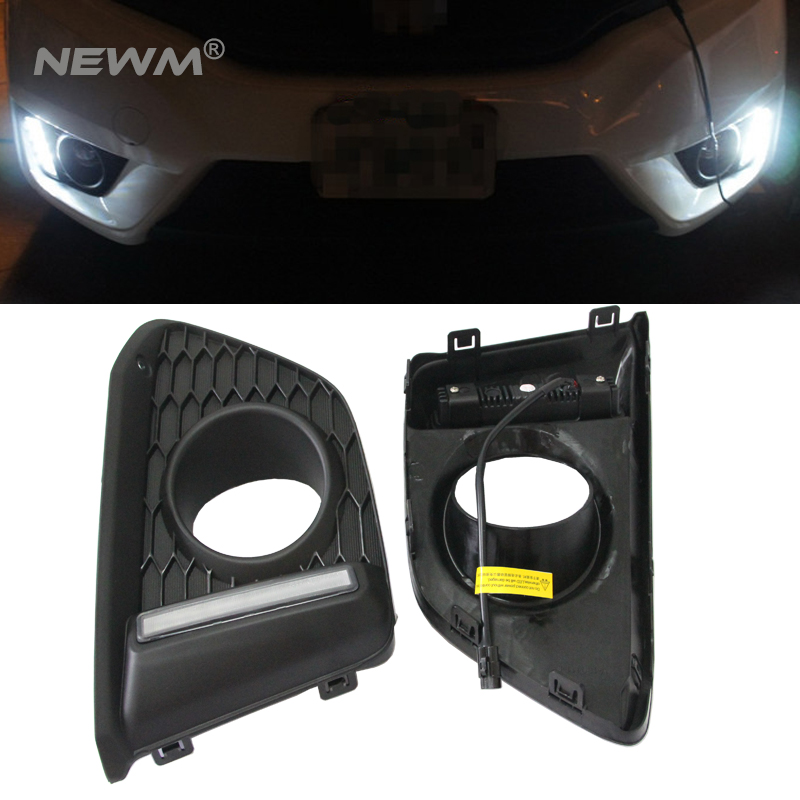 Car auto parts LED DRL  light  led Daytime Running Light external front headlight for Honda Jazz Fit 2014-2015 free shipping car rear trunk security shield cargo cover for honda fit jazz 2014 2015 2016 2017 high qualit black beige auto accessories