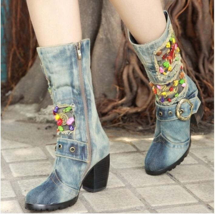 Kaeve Blue Denim Water Wash Knee-High Boots Comfort Chunky Heels Pumps Round Toe Cowboy Shoes High Heels Jean Martin Boots kaeve blue denim lace up ankle boots fashion casual thin heels cross tied pumps round toe cowboy shoes jean snow boots