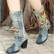 Kaeve Blue Denim Water Wash Knee-High Boots Comfort Chunky Heels Pumps Round Toe Cowboy Shoes High Heels Jean Martin Boots blue denim water wash over the knee boots stiletto heels pumps cowboy shoes high heels pointed toe autumn winter knight boots
