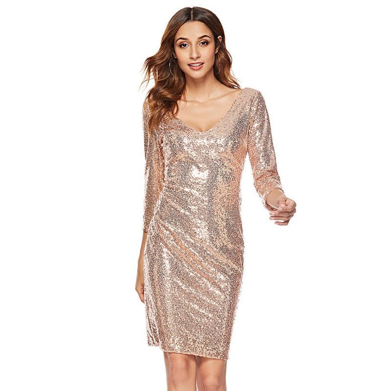 Great Gatsby Backless Sexy Sequined Dress New Gold Party Sequin Dress Women Deep V Neck Three Quarter Sleeve Knee Length Dresses