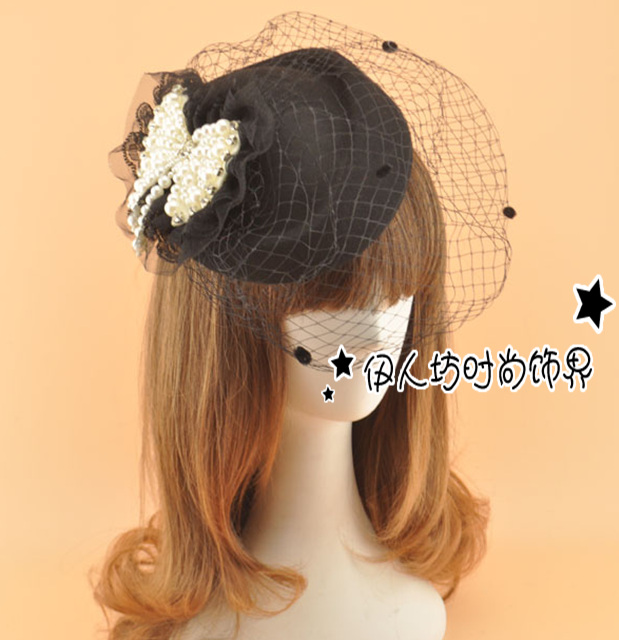 Black Red Wool Beads Bridal Hat With Veil Wedding Hair Accessories