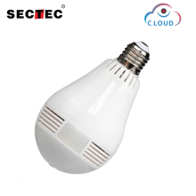 Sectec 360 degree 960P LED Light Wireless Panoramic IP Camera Home Security WiFi  Camera Fisheye Home Security Bulb Lamp sannce 360 degree wireless panoramic camera 960p network wi fi fisheye security ip camera wifi 1 3mp video built in mic speaker