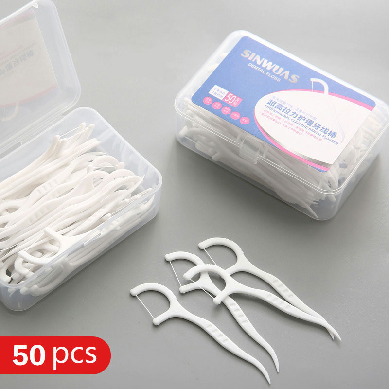 vanzlife High tensile dental floss stick portable dental care flossing tooth gap cleaner bow toothpick flat wire 50pcs a lot(China)