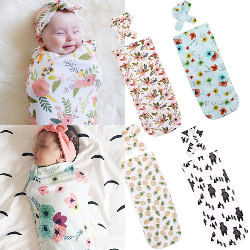 2pcs Newborn Baby Cute Swaddle Blanket Sleeping Swaddle Muslin Wrap+Headband New