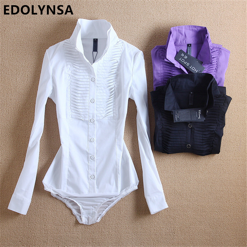 New Arrivals Women Body   Blouse     Shirt   White Long Sleeve Blusas Elegant Tops Female Tunic   Blouses   Feminina Solid Blusa #B7