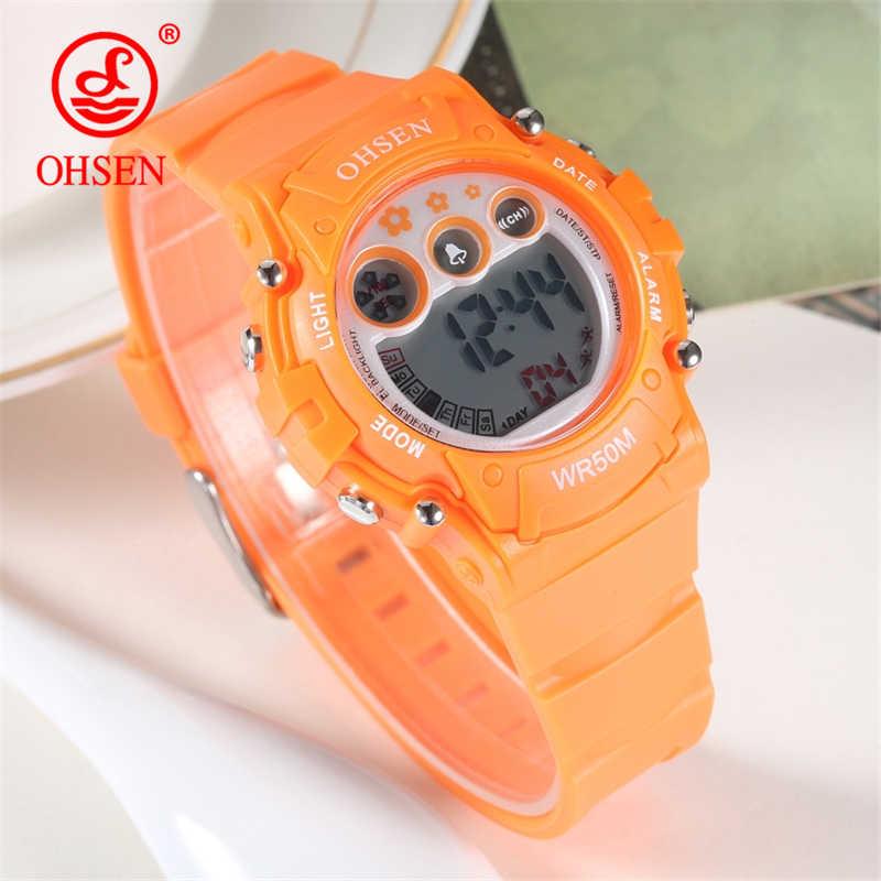 OHSEN New Fashion Children Sports Watches Kid Quartz Reloj LED Digital Clock Student Military Waterproof Watch Relogio Masculino