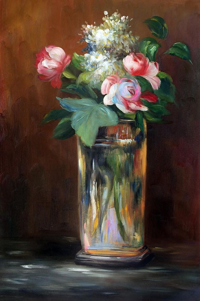Christmas Art Gift Flowers in A Crystal Vase II by Edouard Manet Flower Oil Painting Classic Art Painting Handpainted