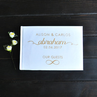 Personalized Wedding Journal Unique Wedding Guest Book Ideas Book Custom Name and Date Gold Calligraphy Guestbook