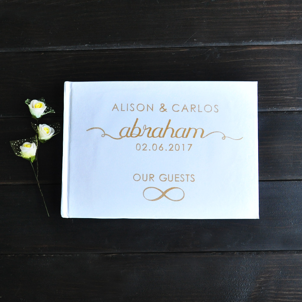 Personalized Wedding Journal Unique Wedding Guest Book Ideas Book Custom Name and Date Gold Calligraphy Guestbook image