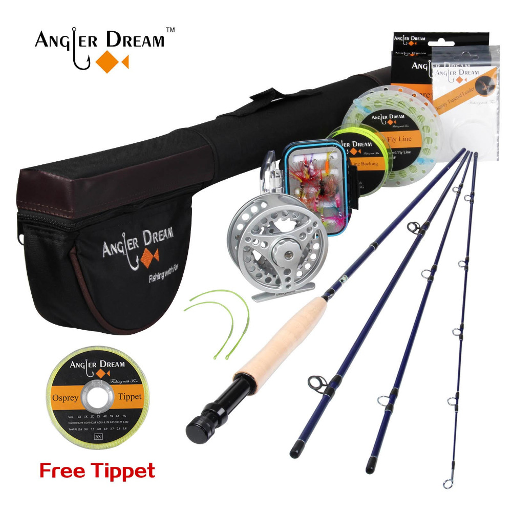 Angler Dream Fly Rod Combo Honor 3/4# 2.4M Fly Fishing Rod+Reel+Rod Bag+Fly Flies Box Lure Fishing Tackle Set For Trout Fishing trulinoya multi purpose fishing bag 24 15 cm fish lock lure box accessories box style fishing bag set fishing tackle best