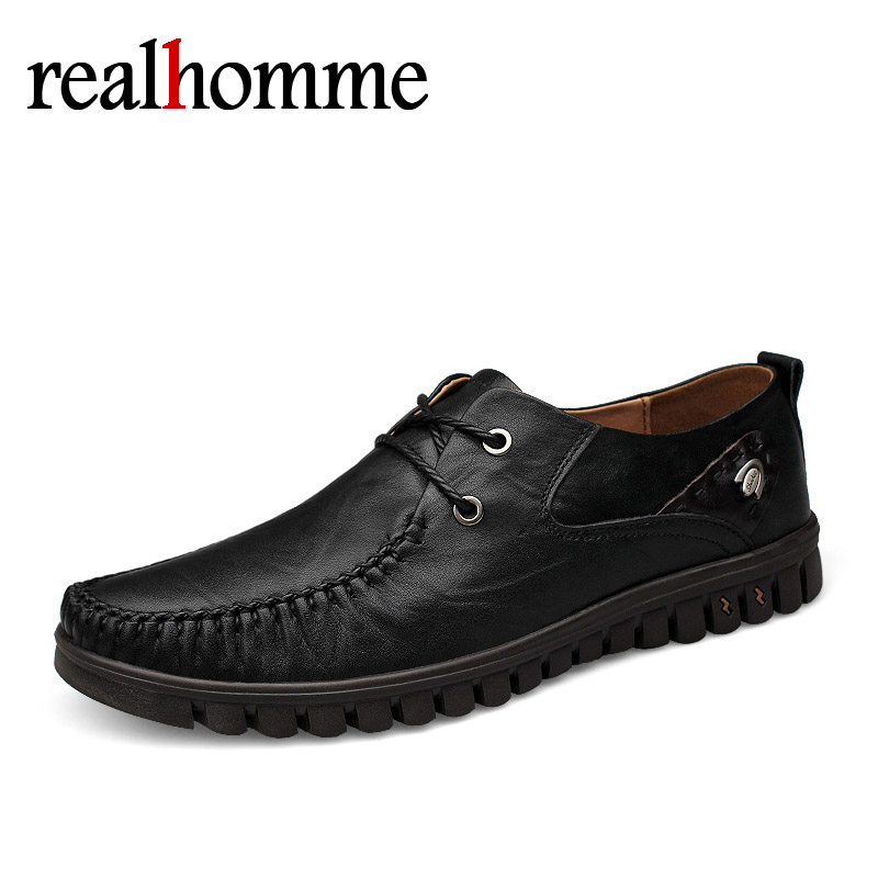 RealHomme Genuine Leather Casual Shoes Fashion Men Shoes Comfortable Men Real Leather Shoes Lace-up Moccasins size 37~46 men s leather shoes vintage style casual shoes comfortable lace up flat shoes men footwears size 39 44 pa005m