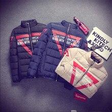 2015 Зима новый Печать Тонкий Сплошной Цвет Хлопка Мужчин Выращивания Хлопка Куртка Теплая Куртка Дети Приток Молодых Мужчин
