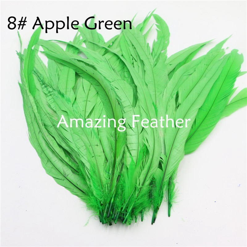 200pcs/lot 12-14inch Rooster Feathers Apple Green Feathers For Crafts Decoration Christmas Home Sale New Year Wedding Cosplay