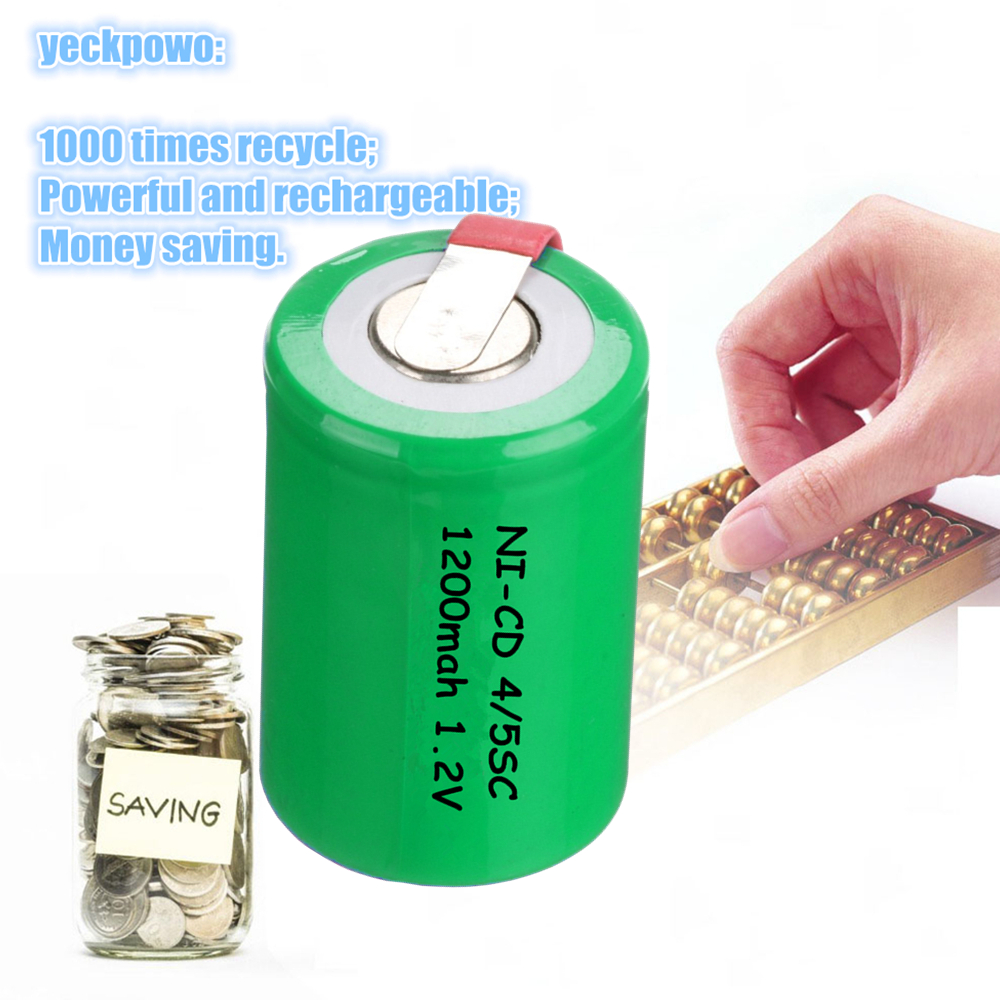 Real capacity 12 pcs 4/5SC 1200mah 1.2v battery NICD rechargeable batteries for emergency light for makita bosch B&D