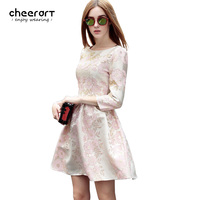 Fall 2016 Women Gold Thread Pink Floral Embroidery Autumn Dress Pullover Ladies Ball Gown Dress Clothing