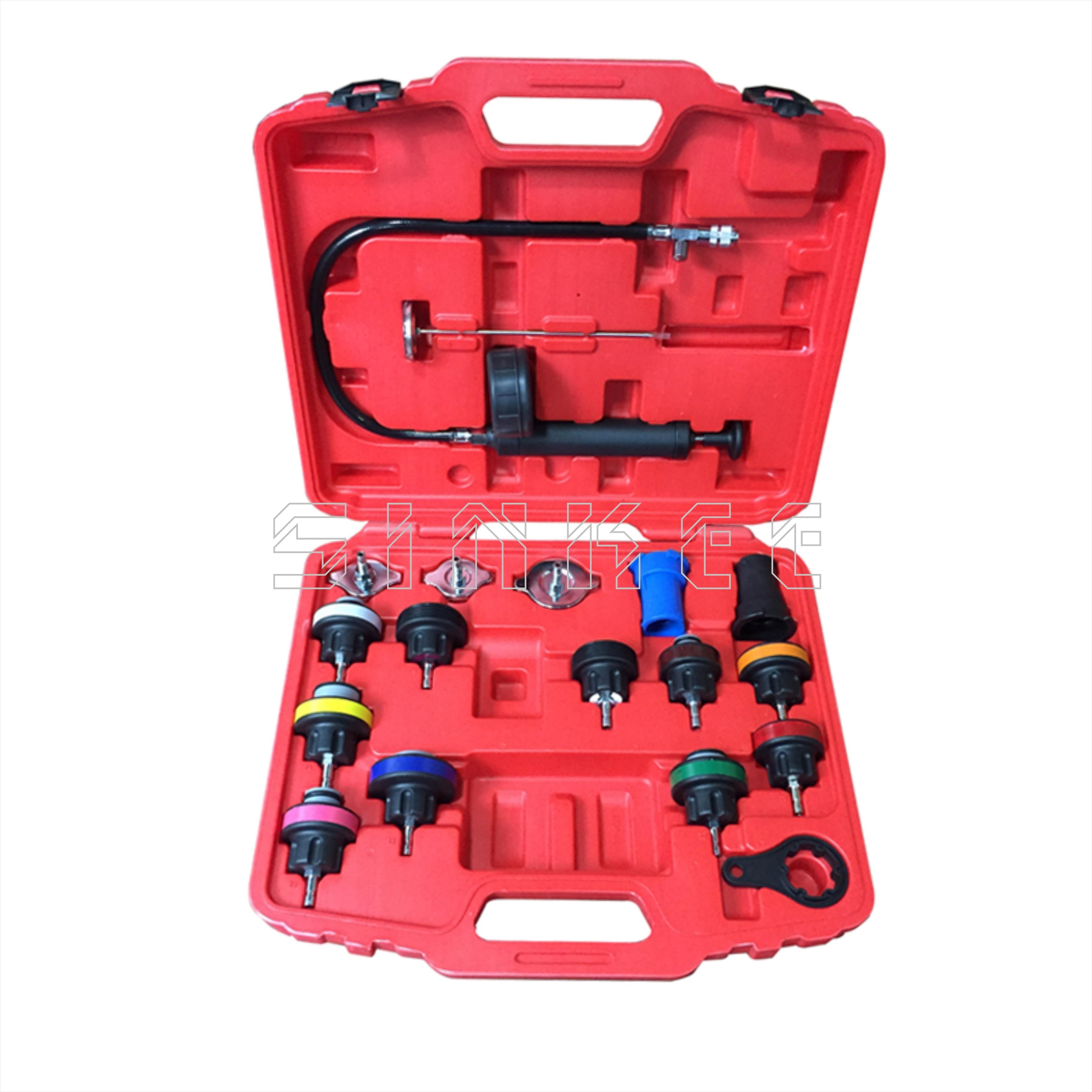 18 pièces testeur de pression de radiateur Kit d'outils système de refroidissement outil d'essai véhicule sous vide universel pour VW Audi BMW Ford Volvo SK1383