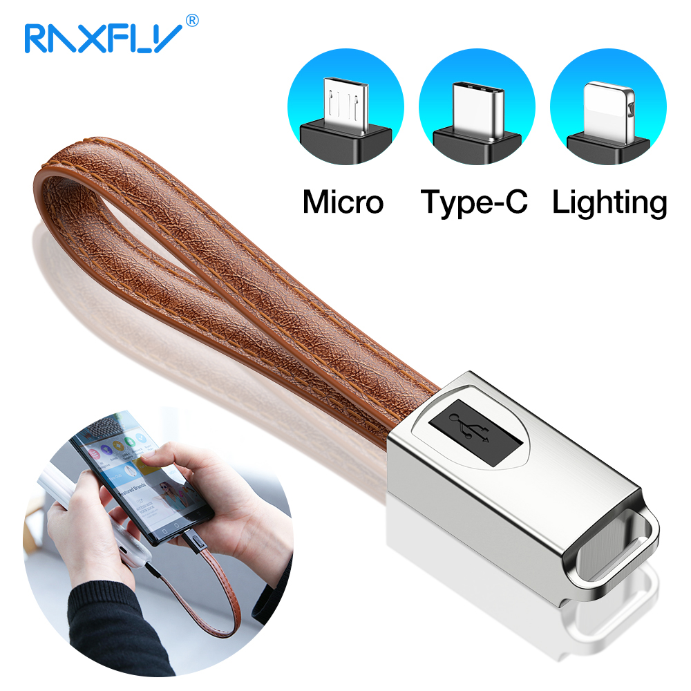 RAXFLY Fashion Type C Cable For Samsung S10 A50 A7 Leather <font><b>Keychain</b></font> Micro USB Cable Fast Charging For iphone 11 7 XR Date Cords image