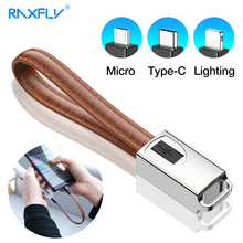 RAXFLY USB Type C Cable For One Plus 6 5t Leather Keychain Micro Lightning To Charging Wire iPhone X XS Max 7