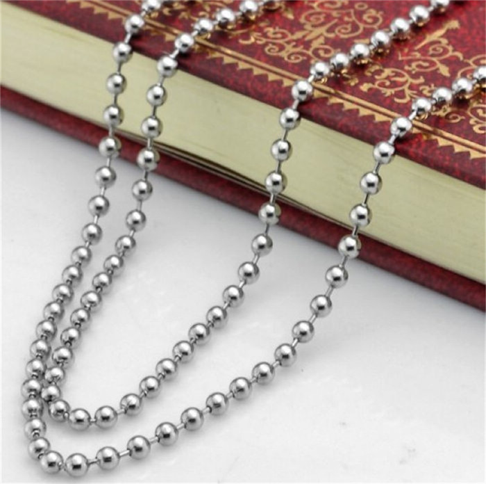 2mm Silver Tone Stainless Steel Ball Bead Chain Necklace Bracelet Women Bag Handbag Keychain Key Ring Dog Tag Jewelry Any Size33