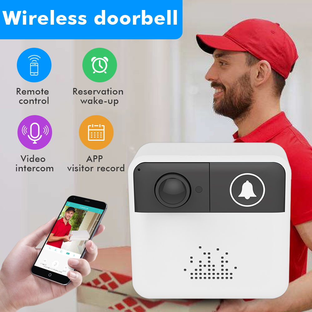 SDETER Wireless Door Bell Wifi Doorbell Intercom Video Camera Two-Way Audio Night Vision APP Control for iOS Android Phones new wifi video intercom wifi wireless video door phones app can be run in android and ios devices dhl