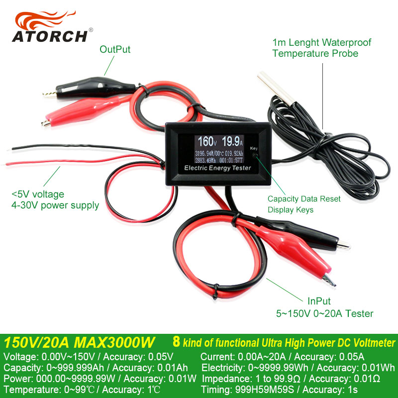 ATORCH DC 150V 20A Current Meters digital voltmeter ammeter voltage amperimetro watt metercapacity tester indicator lcd monitor