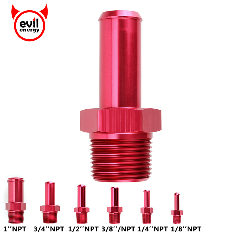 evil energy 1 8 quot 1 4 quot 3 8 quot 1 2 quot 3 4 quot 1 quot NPT Male Straight To Hose Barb Nipple Aluminum Fittings Red in Fuel Supply amp Treatment from Automobiles amp Motorcycles
