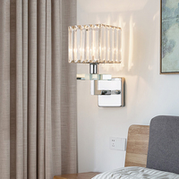 Modern Chrome Metal Led Wall Lamp Living Room Crystal Led Wall Lights Fixtures Bedroom Led Wall Light Corridor Wall Sconce