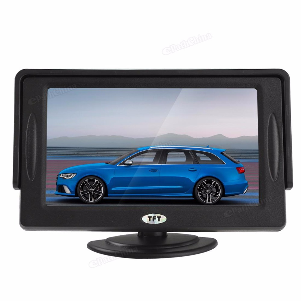 Marke Neue 4.3 ''Farbe TFT LCD Mini Auto Parkplatz Rückansicht Monitor Für DVD VCD Kamera, drehbare Display Screen 2 Video Eingang