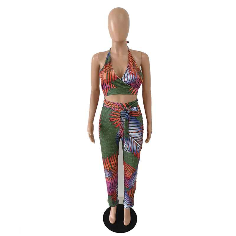 Leaves Print Sexy 2 Piece Outfits For Women Summer Clothes Halter Backless Crop Sashes Bodycon Pant Sweatsuit Matching20190529